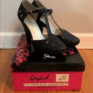 Nadine Blue Glitter Retro Heels - Size 7